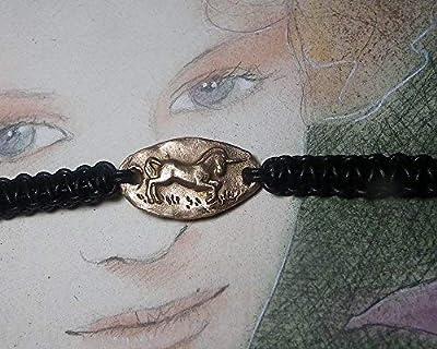 Bracelet unisexe ajustable, bijou elfique, petite licorne faite main en bronze (couleur argent ou or) ou en cuivre et macramé de cuir noir