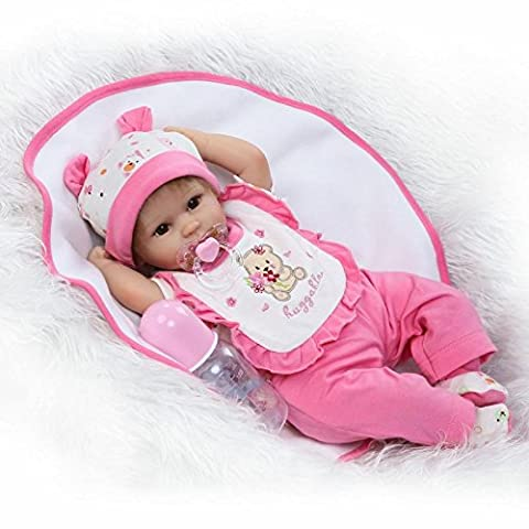 Nicery Reborn Baby Doll Soft Simulation Silicone Vinyl 18inch 45cm Magnetic Mouth Lifelike Toy Boy Girl RD45C049O Eyes