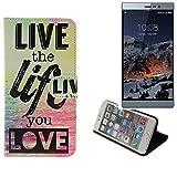 K-S-Trade Für Switel eSmart M3 Schutz Hülle 360° Wallet Case ''live Life Love'' Schutzhülle Handy Tasche Handyhülle Etui Smartphone Flip Cover Standfunktion (1x)