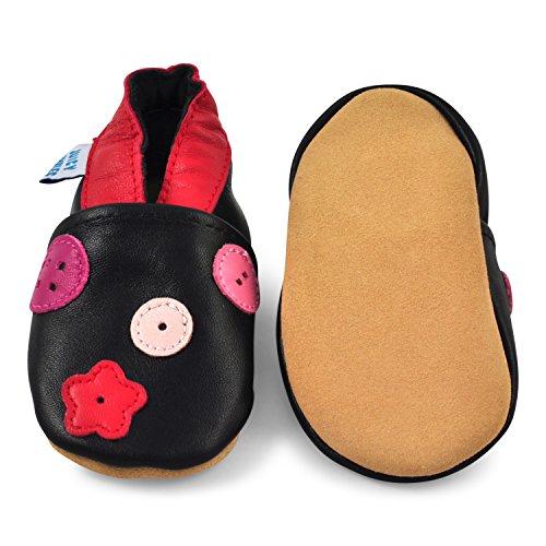 Juicy Bumbles - Weicher Leder Lauflernschuhe Krabbelschuhe Babyhausschuhe mit Wildledersohlen. Junge Mädchen Kleinkind 0-6 Monate 6-12 Monate 12-18 Monate 18-24 Monate Blumen und Tupfer