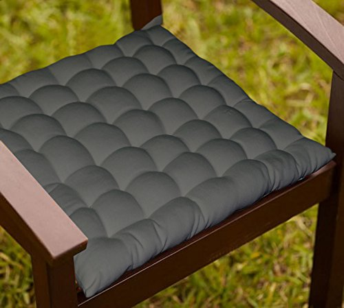Lushomes Grey Comfy Cotton Chair Cushion with 36 knots & 4 tie backs  available at amazon for Rs.389