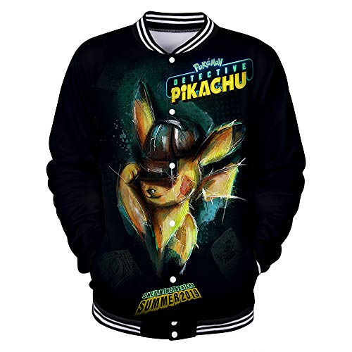 WQWQ Männer und Frauen Pokemon Printed Jacke Pikachu Muster Leichte Baseball Kostüm Pokémon Sportswear Seasons XL XXL 3XL,C,L (Baseball Kostüm Muster)