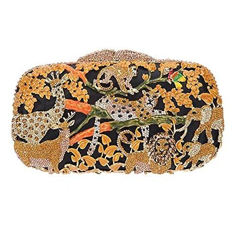 Bonjanvye Lovely and Trendy Style Forest Animal Pattern Clutch Purse Yellow