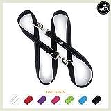 Pets&Partner® Hundeleine aus Nylon / Doppelleine in verschiedenen Farben für kleine und große Hunde passend zu Halsband und Geschirr, Schwarz mit silbernem Karabinern