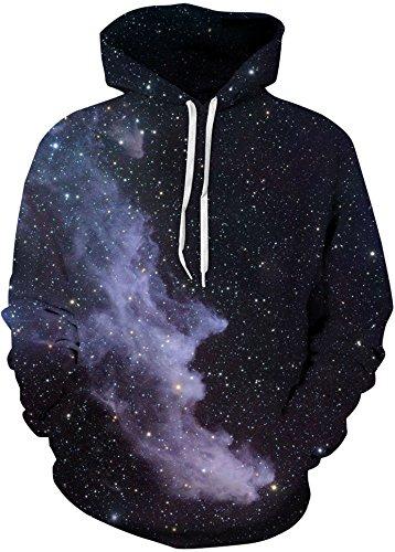 AureQet Unisex Realistische Herren 3D Galaxy Kapuzenpullover Pullover Hoodie Kapuzen Langarm Sweatshirt Kapuzenjacke Der sternenhimmel