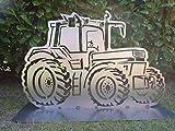 Gartendeko Fockbek Metallfigur Gartenfigur ca. 60 x 96 cm (Motiv Trecker 3') Trecker TraktorLandwirtschaft