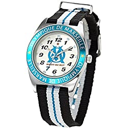 Olympique de Marseille Boys 'Watch - Analogue Quartz - Silver Dial - Bracelet - om8009 Nylon Multicoloured