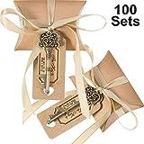 Jovitec 100 Sätze Vintage Schlüssel Flaschenöffner Hochzeit Gunsten Souvenir Geschenk Set Kissen Pralinenschachtel Escort Dank Tag Französisch Band (Bronze)