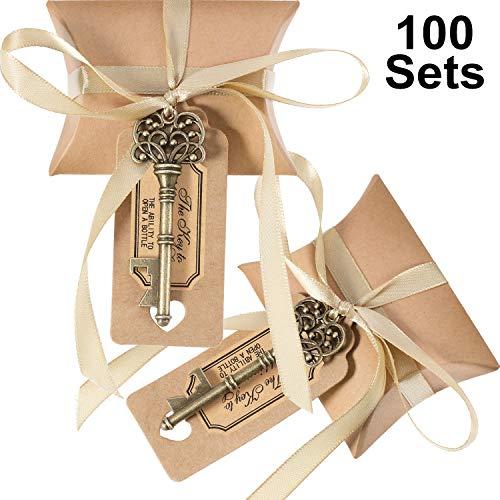 intage Schlüssel Flaschenöffner Hochzeit Gunsten Souvenir Geschenk Set Kissen Pralinenschachtel Escort Dank Tag Französisch Band (Bronze) ()