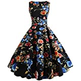 OverDose Damen Karneval im freien Stil Frauen Vintage Druck Bodycon Sleeveless beiläufige Abend Party Prom bar Dating Street schlank schaukel Dress Dirndl