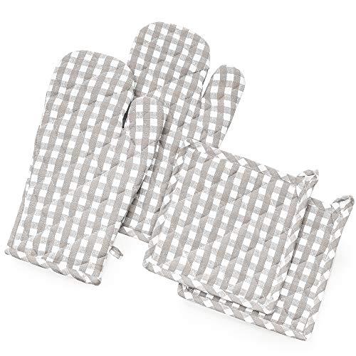 FILU - Guantes para Horno y agarraderas (2 Unidades), 100% algodón, Gris/Blanco