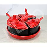 KLEO - Black N Red Condiment Set Pickle Set With Salt/Spice Shaker - Set Of 4 Jars With Spoons, One Salt Shaker And One Tray Holder