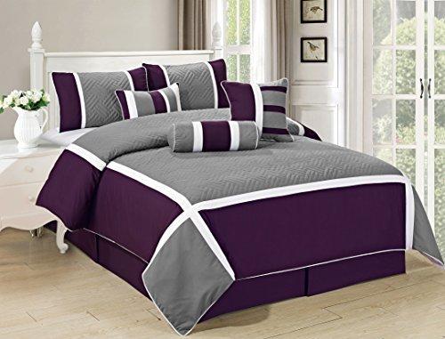 All American Collection New 7-teiliges Set Bestickt Übergroß Tröster, Polyester-Mischgewebe, purpur / grau, King Size (Grand Bettwäsche Tröster-sets)