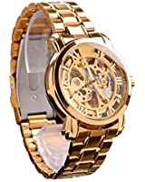 New Luxury Automatic Mechanical Stainless Steel Skeleton Gear Visible Gold Men Wrist Watch