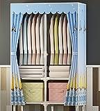 N&B Tragbare Kleider Schrank kleiderschrank,Vliesstoff Kleider Schrank ablage für Kleidung für Kleidung mit 4 schubladen,Grosser Raum,Einfach zu Montieren-F 85x172x45cm(33x68x18)