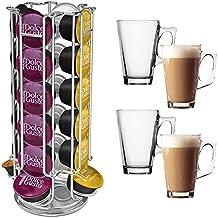 Soporte para 24Cápsulas de café Dolce Gusto + 4tazas de Latte
