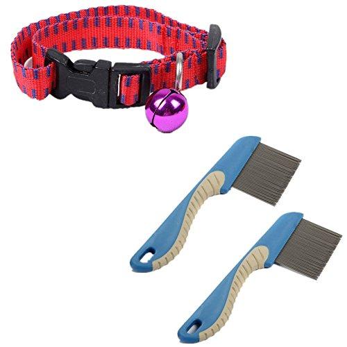Fully 1x Ungezieferhalsband Zeckenhalsband Flohhalsband 3 Monat wirksam für Katzen Hunde 35cm + 2x Nissenkamm Läusekamm 15.5x4cm