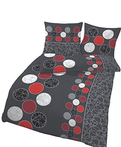 Bettwäsche soma 2tlg.Renforce 155x220 80x80 rotPunkte