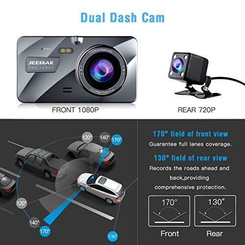 Jeemak 1080P+720P Telecamera per Auto 4 pollices IPS Dash Cam Doppia Lente FHD Grandangolare di 170 Gradi Auto Registratore DVR with G-Sensor Monitor di Parcheggio Registrazione in Loop WDR