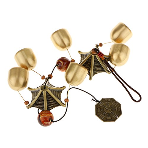 Chinesische Windspiel 2-Schicht Dach 6 Glocken Glück Feng-Shui Garten Dekor - 9