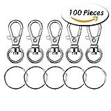Paxcoo 100 piezas de metal gancho giratorio gancho de cuerda con anillos clave (tamaño pequeño)