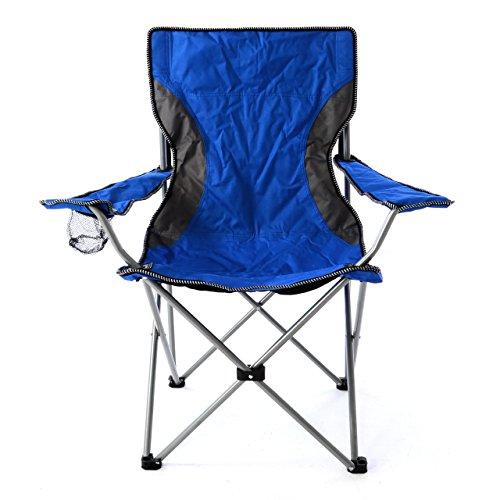 Nexos Campingstuhl Faltstuhl blau grau mit Armlehne Getränkehalter Angelstuhl bis 150 kg Tragetasche Polyester Stahlrohr Accessoires-Netz stabil wasserabweisend 90x47x47 cm