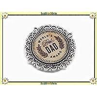1 imán World best Dad award corona de laurel beige marrón marrón regalos personalizados Navidad cumpleaños papá invitados día del padre parejas feliz