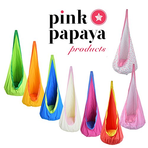 Pink Papaya Hängehöhle Doodle für Kinder, komfortabler Hängesessel mit Sitzkissen, Kinderhängesitz in grün - 6