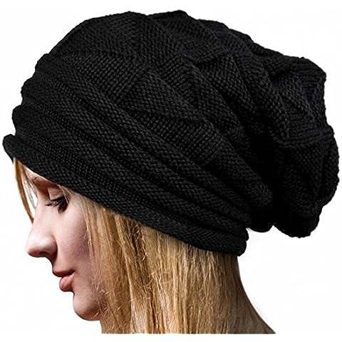 Xinantime Cappello Crochet Knit Beanie Inverno Caldo Colore Nero