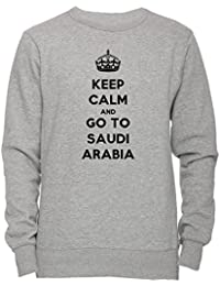 Keep Calm And Go To Saudi Arabia Unisexo Hombre Mujer Sudadera Jersey Pullover Gris Todos Los Tamaños Unisex Men's Women's Jumper Sweatshirt Grey All Sizes