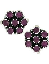 PeenZone 92.5 Silver Ruby Toe Rings For Women & Girls