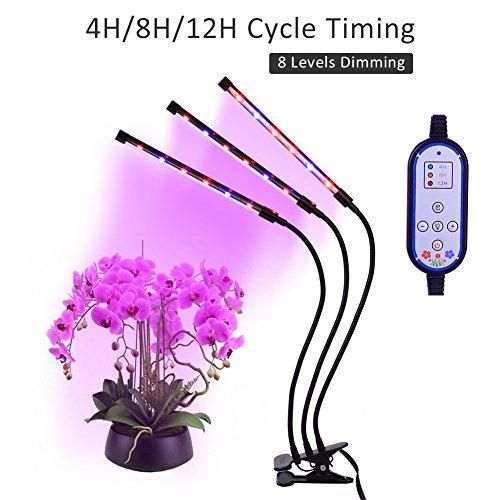Pflanzenlampe ,Haofy LED Grow Light E27 12W Pflanzenlicht Wachstum Dimmbar 12 Rote,6 Blaue 8 Lichtstärken || mit Klemmhalterung 3 Modes Timer (4H/8H/12H)||360 ° Flexibler Schwanenhals für Garten Gewächshaus Büro Haus Innenpflanzen Blumen Gemüse usw