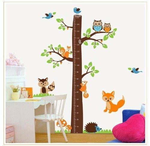Baum Höhe Diagramm (0–170,2cm) mit Vögel Fox Eule und Eichhörnchen Wand Aufkleber Kinder Zimmer D ¨ ¦ cor (Baum-höhe-diagramm)