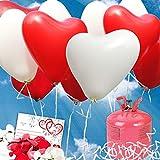 galleryy.net 35 Herzballons Hochzeit ROT & WEISS Komplettset: 35 Herzluftballons + Helium Einwegflasche + 50 Ballonflugkarten für Luftballons zur Hochzeit