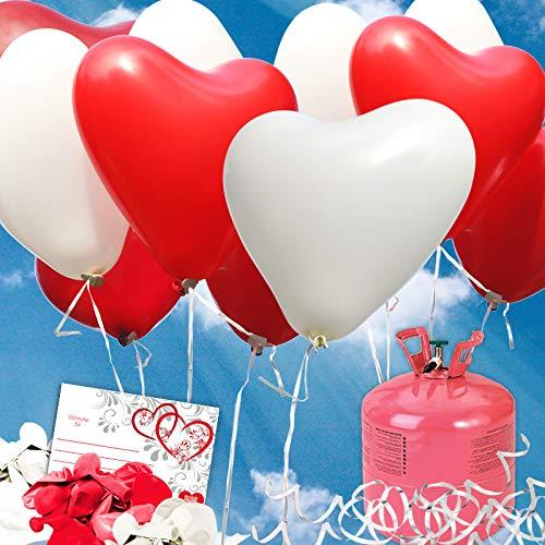 (70 rote/weisse HELIUM Herzluftballons Hochzeit - KOMPLETTSET aus roten & weissen HERZ Heliumballons, Helium Einwegflasche, Ballonkarten GELOCHT und Ballonschnur zum Luftballons steigen lassen zur Hochzeit - Hochzeitsspiele und Partyspiele)