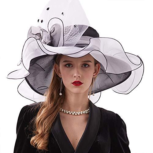 Weiyani Royal Ascot Hat Kentucky Derby Hut Outdoor Elegante Organzahut Braut Stirnbänder Hat Hochzeit Fascinator,A