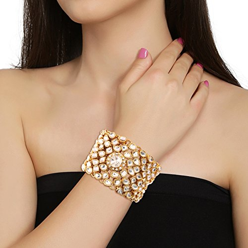 I Jewels Gold Plated Fashion Kundan Bracelet for Women (ADB145W)