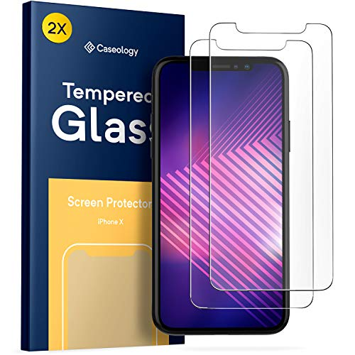 Caseology Protector de Pantalla para iPhone X, (Cristal Templado) Ultradelgado, Transparente, Calidad HD, dureza 9 H, antiarañazos, inastillable (Paquete de 2) para Apple iPhone X (2017)
