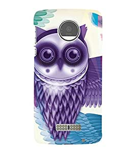 Purple Owl 3D Hard Polycarbonate Designer Back Case Cover for Motorola Moto Z Force :: Motorola Moto Z Force Droid for USA