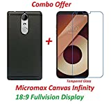 #10: Shopping Monk® (COMBO OFFER ) Micromax Canvas Infinity (18:9 FullVision Display) Soft Shiny Silicon Slim Flexible Perfect Finish Back Case Cover ( Black ) + Premium Tempered Glass screen Protector - ( Transparent )