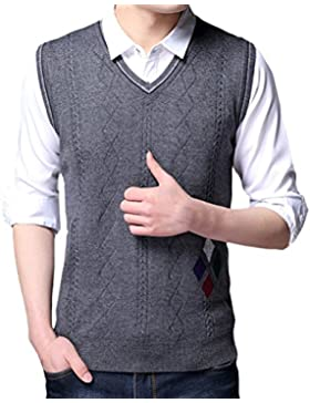 Zhhlinyuan alta calidad Mens Men's Father Britsh Style Business Spring Soft Sleeveless V-neck Pullover Knitted...
