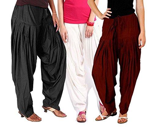 I Shop Traditional Patiala Salwar 100% Cotton Free Size (WHT_BLK_MEH)