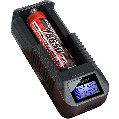Sony / kraftmax Set: BC-1000 USB Akku Ladegerät für 18650 | 26650 | 14500 | 16340 | CR123 | 3,7V Lithium Akkus - Neueste Version mit Li-Ion Smart Charging