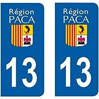 Paire Sticker immatriculation 13 - Bouches du rhône