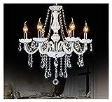 NIUZIMU Lampadario White Jade 6 Arms K9 Lampadario di Cristallo Europeo Candle Ceiling Lamp Camera da Letto Sala da Pranzo Soggiorno E14 Lampada a Bocca -05