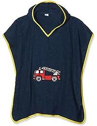 Playshoes Kinder Frottee Kapuzen-Poncho Feuerwehr, praktisches Kapuzen-Handtuch für Jungen und Mädchen