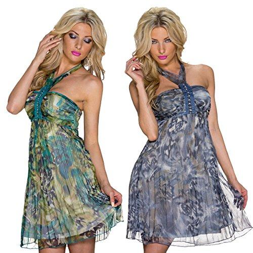 5793 Fashion4Young mini robe moulante pour femme en chiffon robe d'été robe en chiffon 2 g. - Grün Multicolor