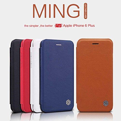 NILLKIN MING Leder Tasche für iPhone 6 Plus & 6s Plus Gitter Textur Horizontale Flip Stand Ledertasche mit Halter & Card Slot by diebelleu ( Color : Brown ) Brown