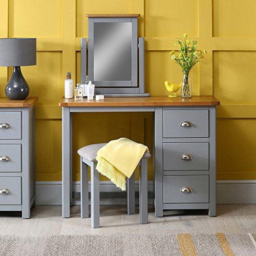 Manor Grey Painted 3 Drawer Dressing Table Set with Mirror & Stool ...