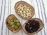 Set von 3 ovalen kleinen Schalen Olivenholz rustikal